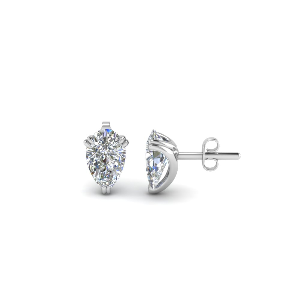 1 Carat Diamond Pear Stud Earring