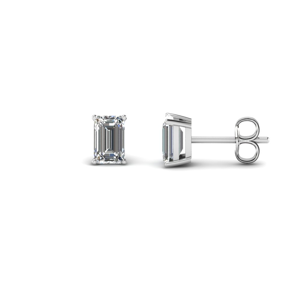 one carat emerald cut stud diamond earring in 14K white gold FDEAR4EM0.50CT NL WG