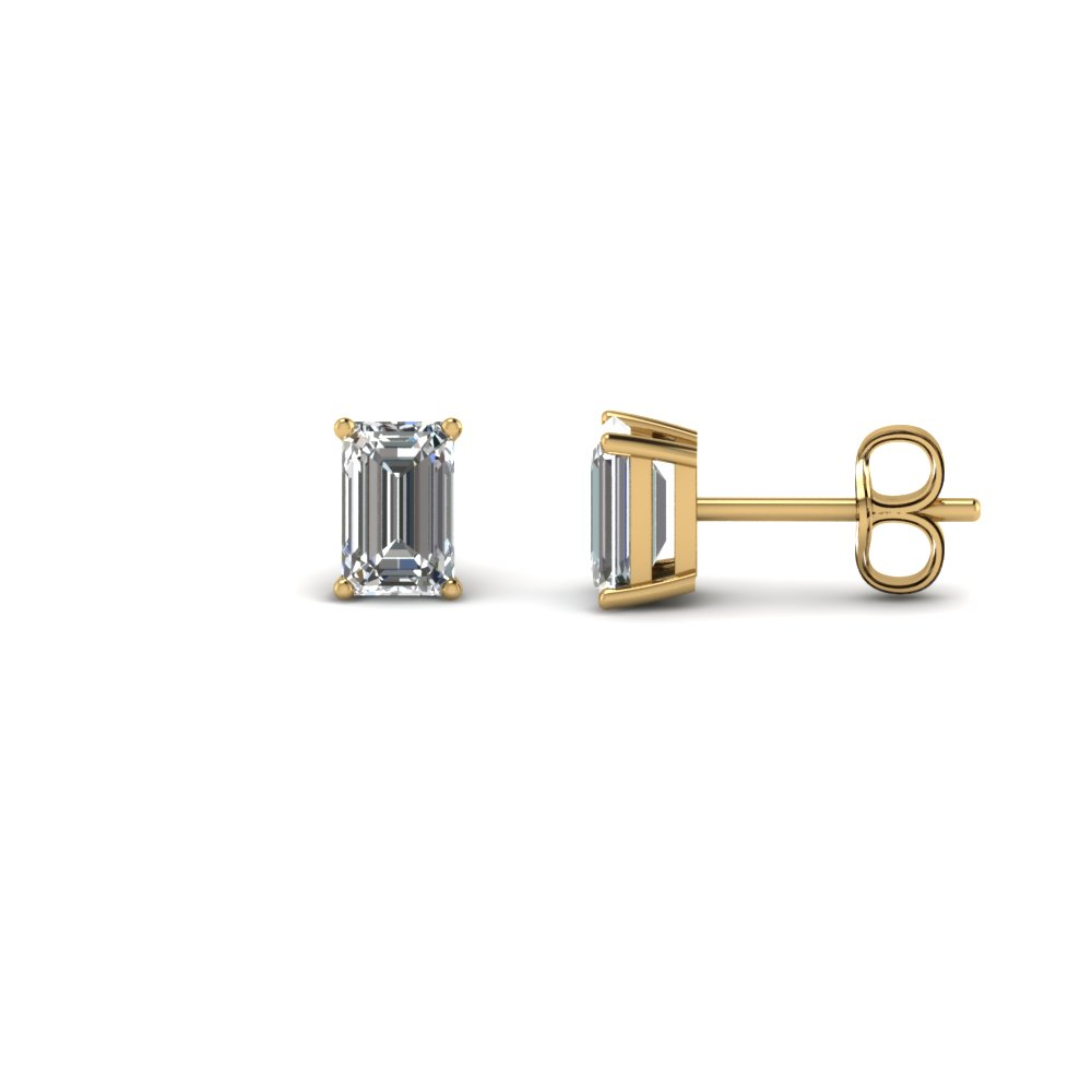 One Carat Emerald Cut Stud Diamond Earring