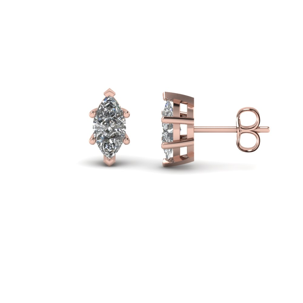 one carat marquise diamond earring in 14K rose gold FDEAR4MQ0.50CT NL RG