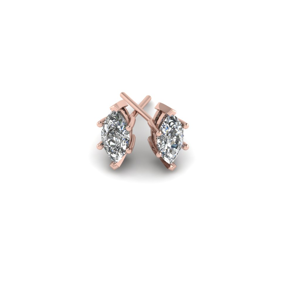 One Carat Marquise Diamond Earring