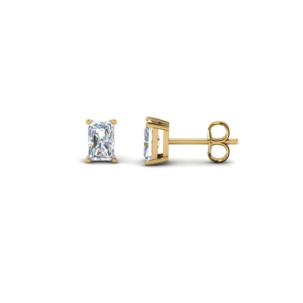 One Carat Radiant Diamond Stud Earring