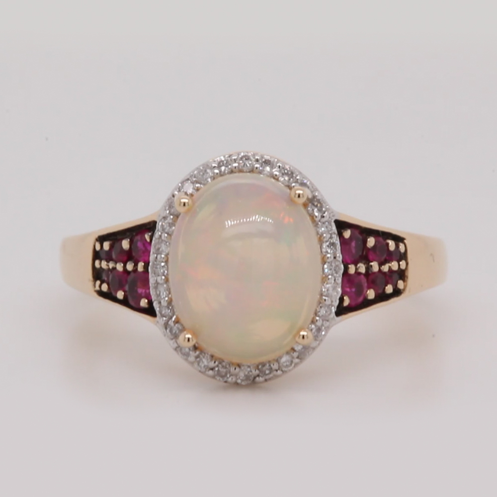 Opal Engagement Ring With Halo
