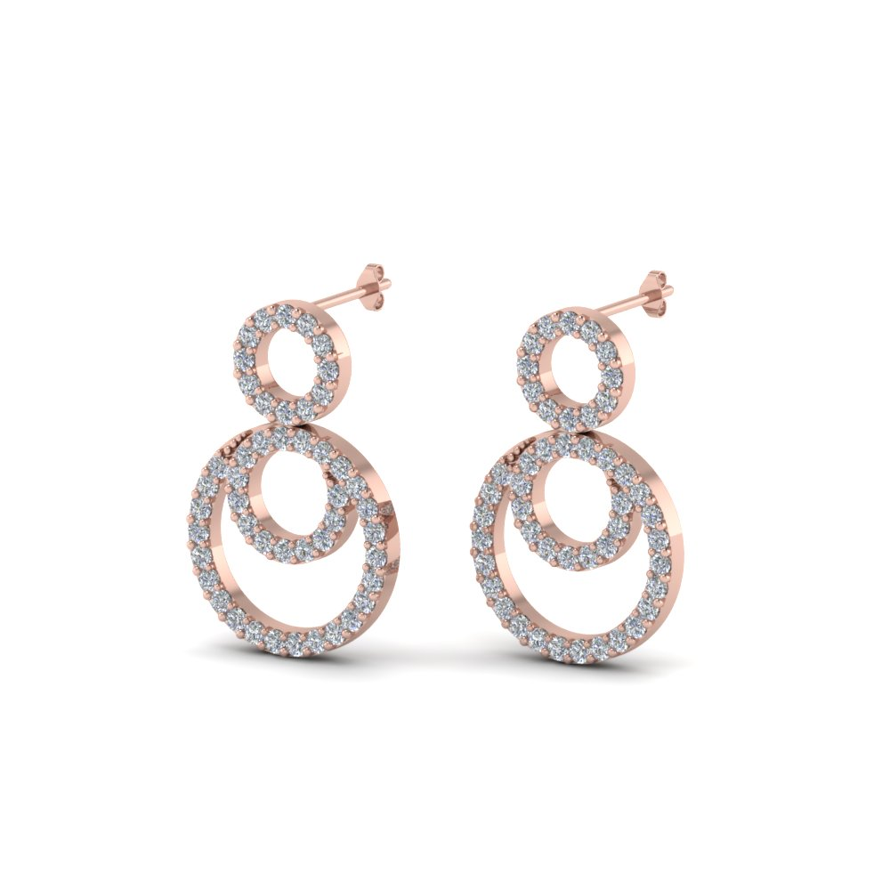 Pave Diamond Circle Earrings For Ladies