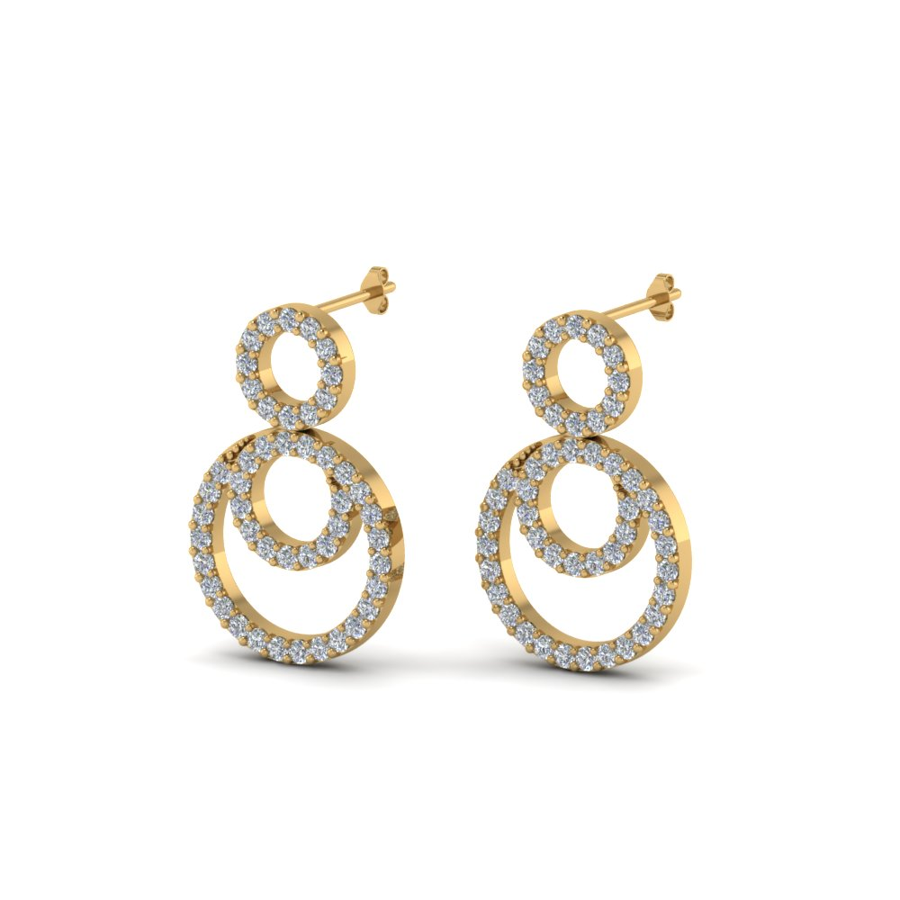 Open Three Diamond Drop Earrings