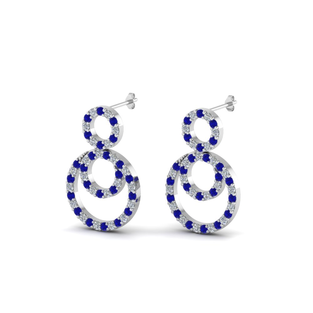 open 3 circle small drop diamond earring with sapphire in 14K white gold FDOEAR40604GSABLANGLE1 NL WG
