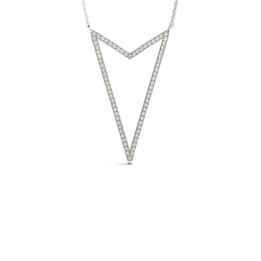 open arrow head diamond pendant in FD-OPD32452ANGLE1 NL WG