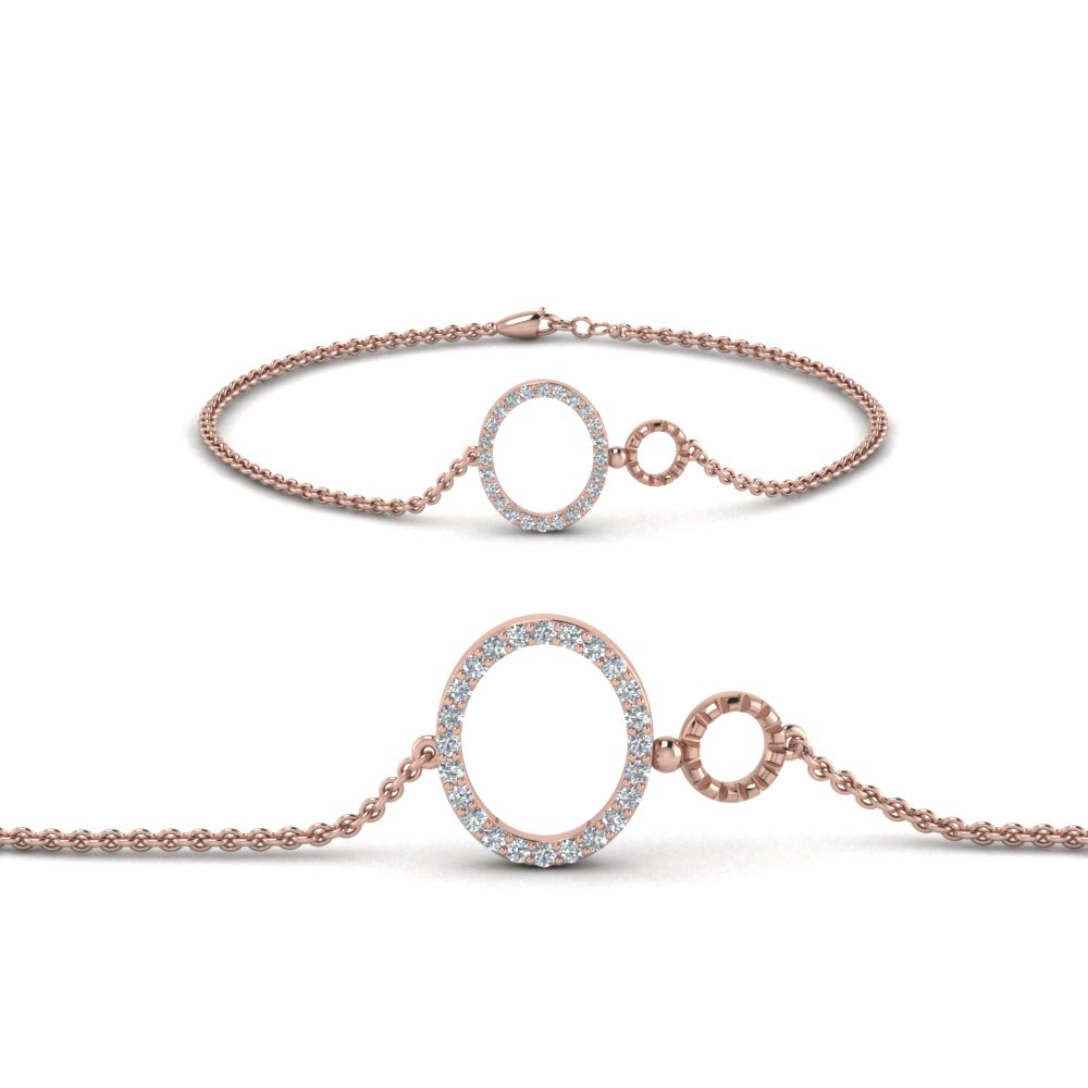 Open Circle Chain Diamond Bracelet