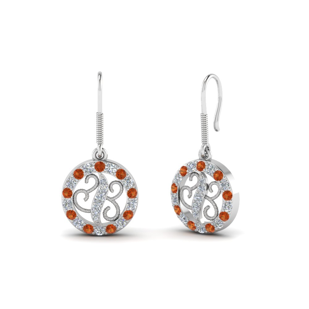 Orange Sapphire Dangle Drop Earring