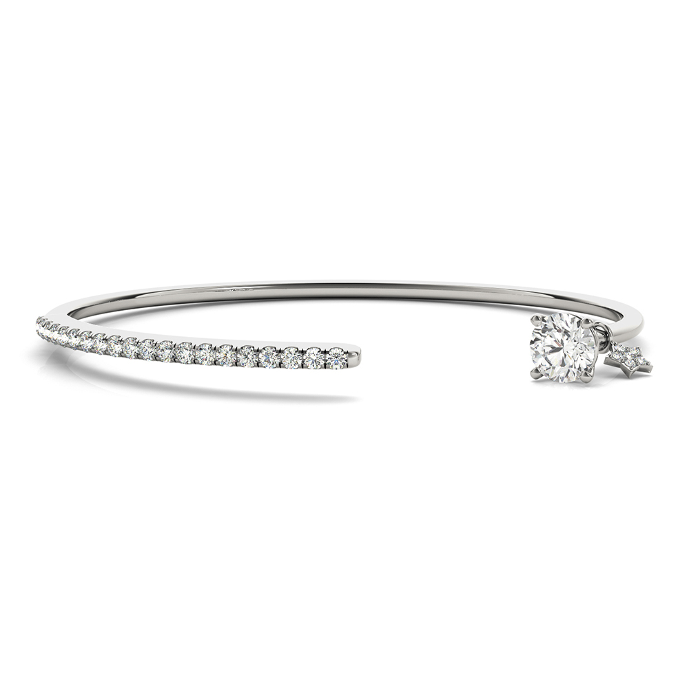 open diamond bangle bracelet for women in 14K white gold FDOBR70505 NL WG