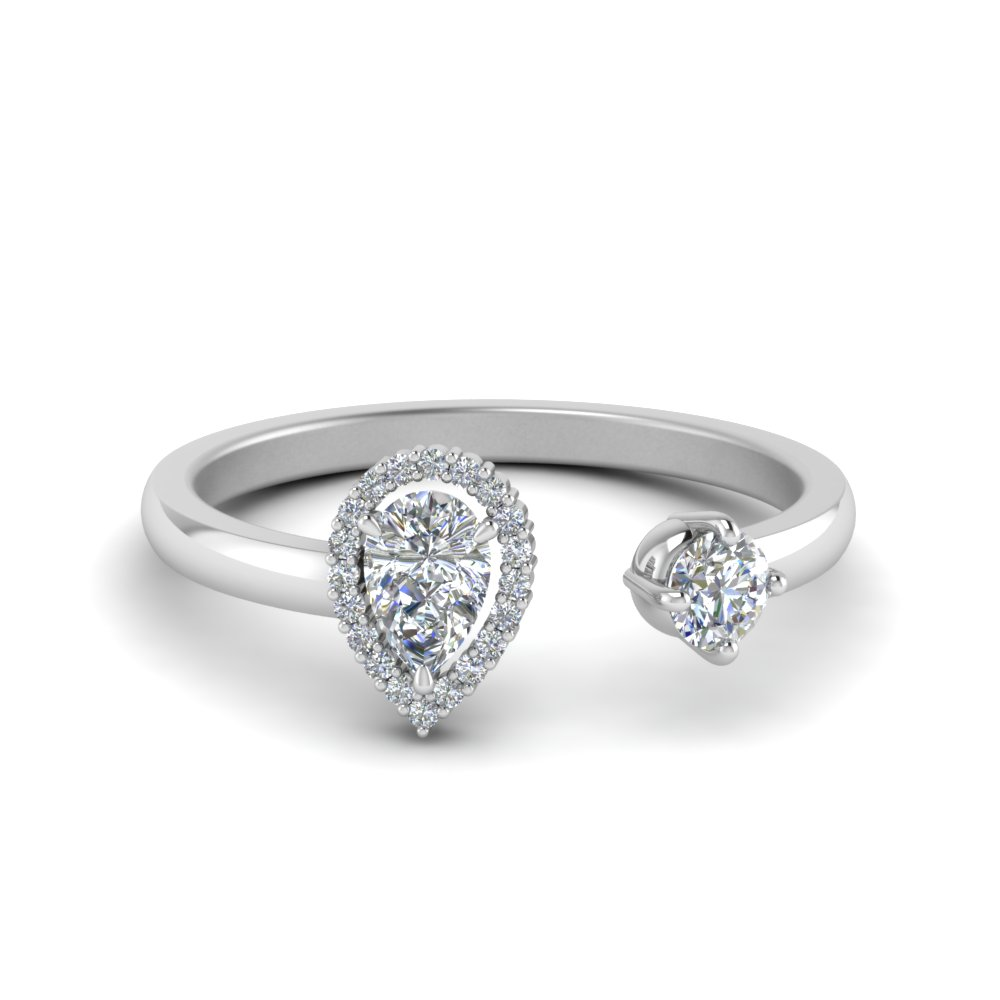open halo pear diamond engagement ring in FD71903PER NL WG