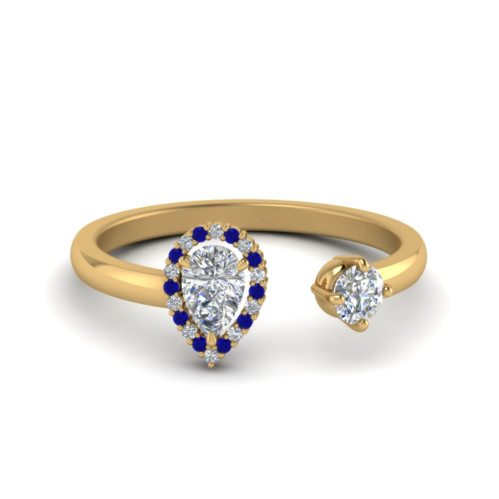 Open Halo Pear Diamond Engagement Ring With Blue Sapphire In 14K Yellow Gold
