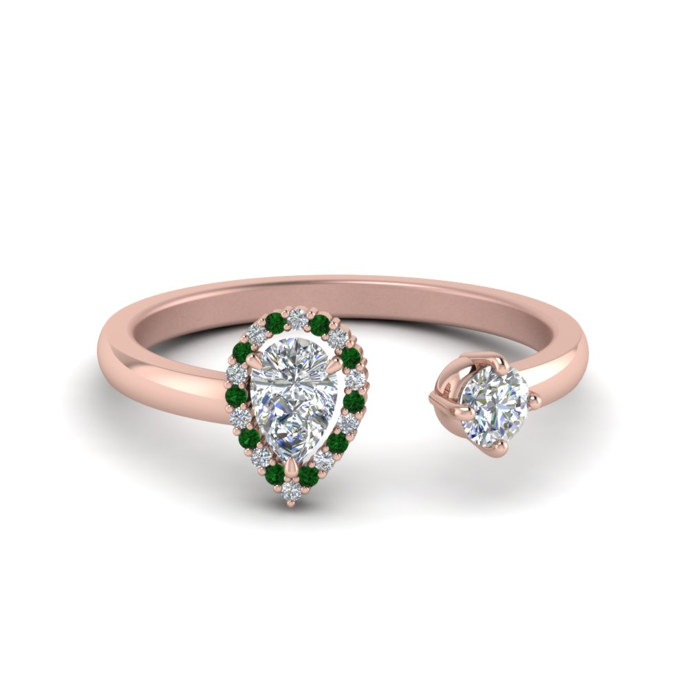 Open Halo Pear Diamond Engagement Ring With Emerald In 14K Rose Gold