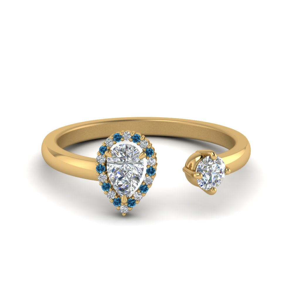 Open Halo Pear Diamond Engagement Ring With Ice Blue Topaz In 14K Yellow Gold