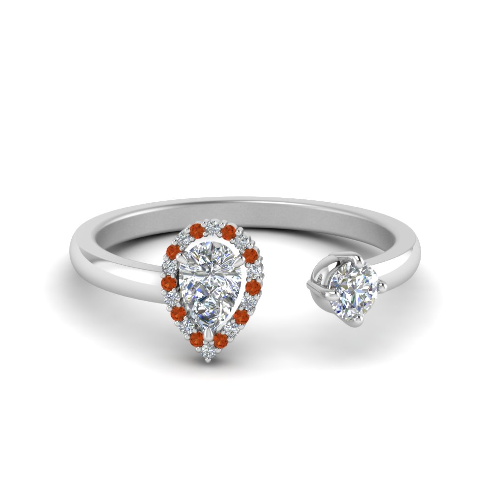 Open Halo Pear Diamond Engagement Ring With Orange Sapphire In 18K White Gold
