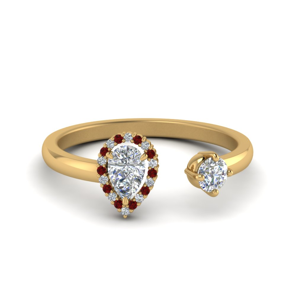 Open Halo Pear Diamond Engagement Ring With Ruby In 18K Yellow Gold