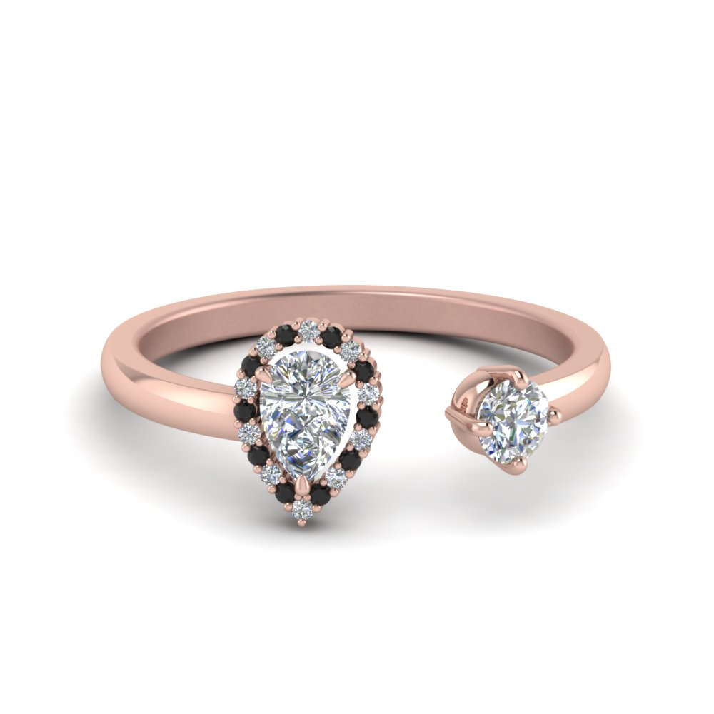 Open Halo Pear Engagement Ring With Black Diamond In 14K Rose Gold