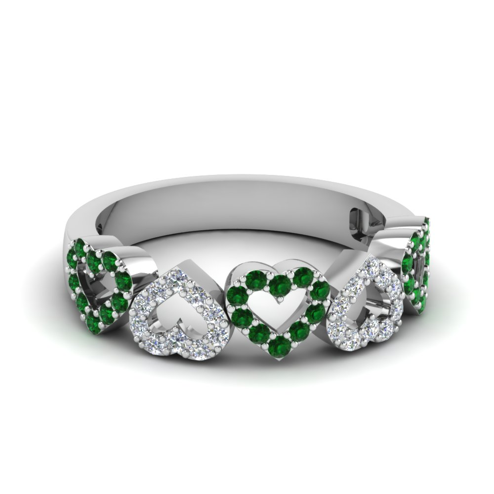 open heart diamond anniversary band with emerald in 18K white gold FD1145BGEMGR NL WG GS