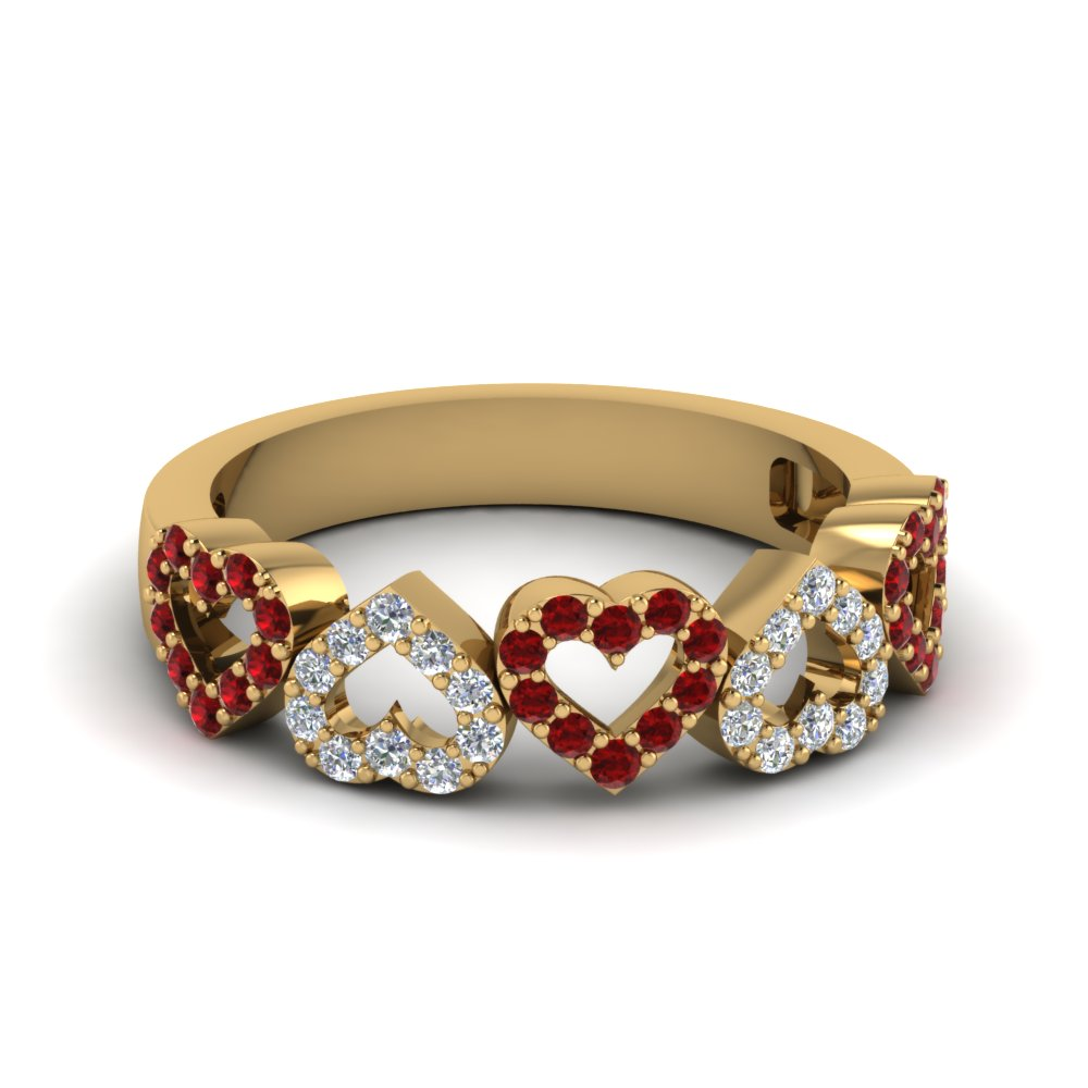 open heart diamond anniversary band with ruby in FD1145BGRUDR NL YG GS