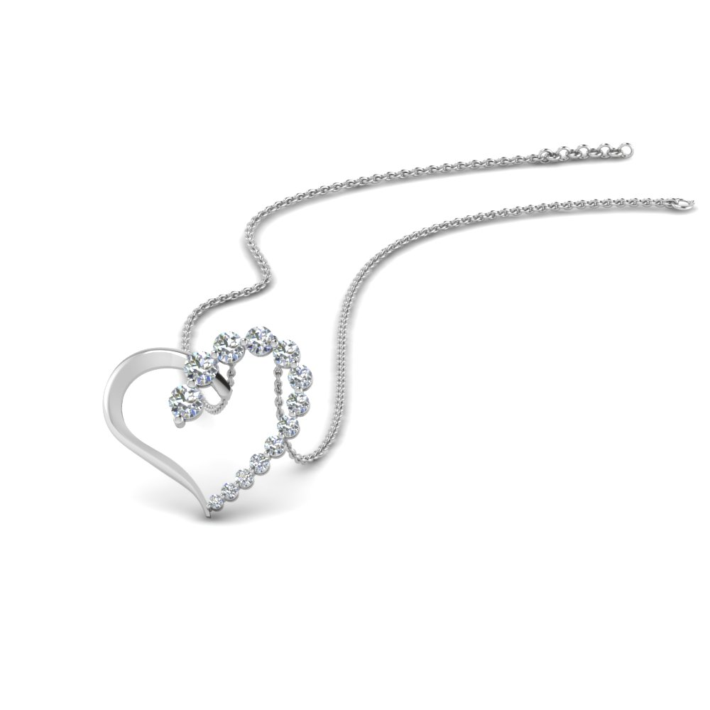 open heart diamond pendant gift in FDHPD383 NL WG