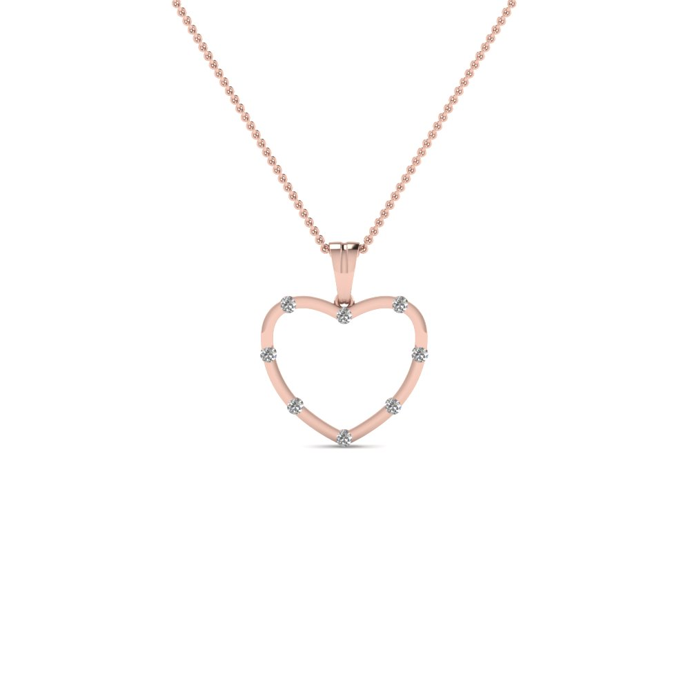 open heart diamond pendant necklace in 14K rose gold FDHPD164 NL RG