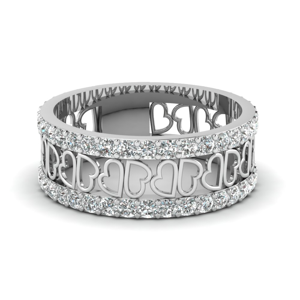 open heart diamond wide band for women in FDWB2805B NL WG GS