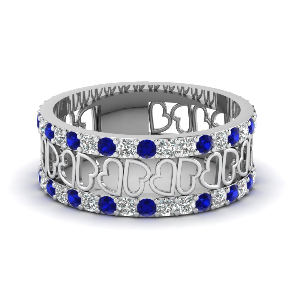 open heart diamond wide band for women with sapphire in 950 platinum FDWB2805BGSABL NL WG
