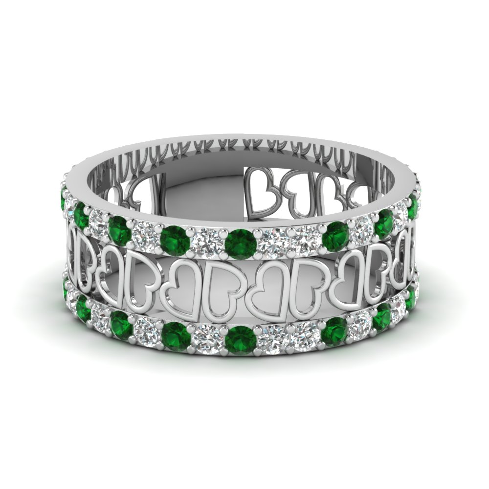 Open Heart Diamond Wide Band For Women Emerald In 14k White Gold