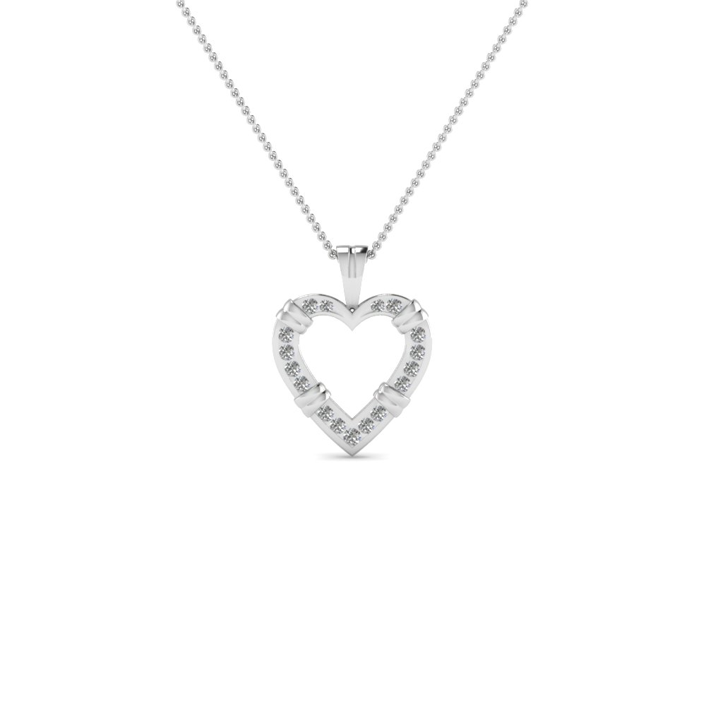 open heart fancy diamond pendant necklace in 14K white gold FDHPD6 NL WG