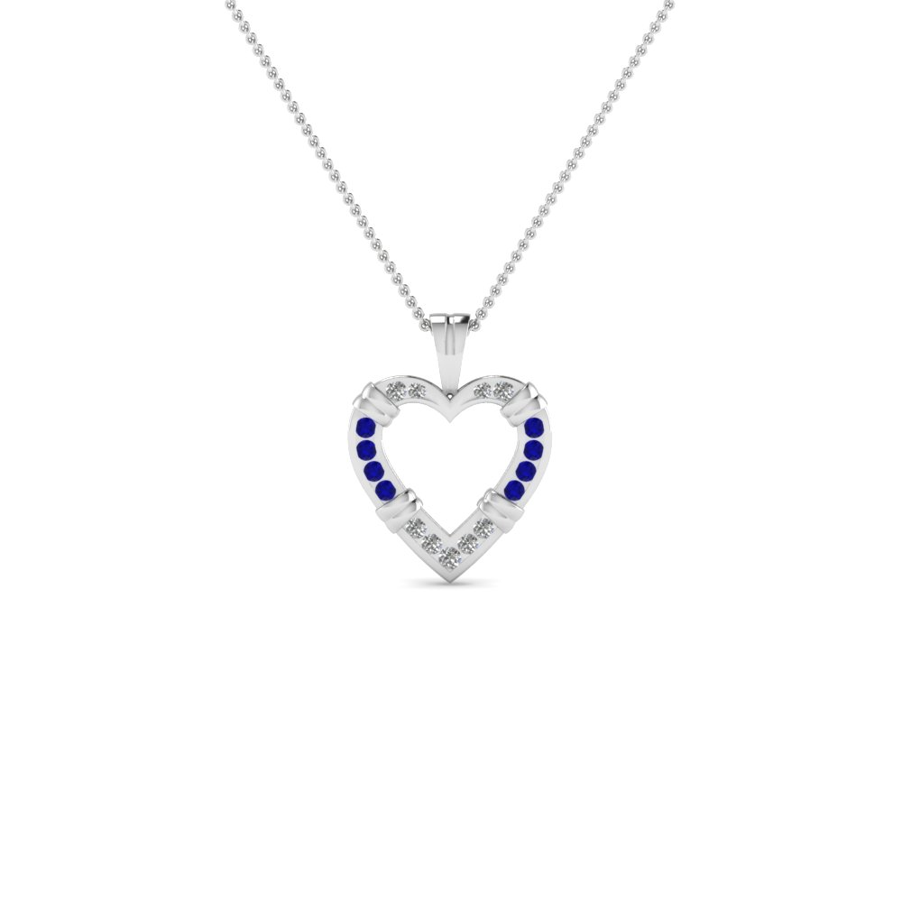 open heart fancy diamond pendant necklace with blue sapphire in 14K white gold FDHPD6GSABL NL WG