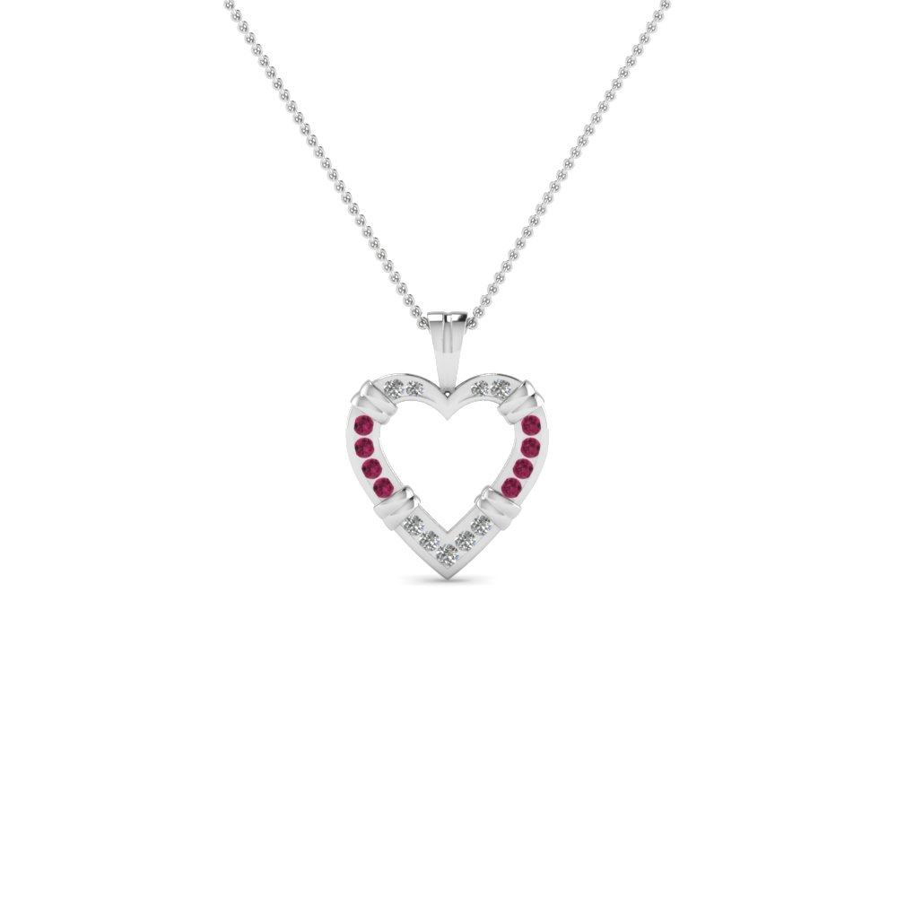 Open Heart Fancy Diamond Pendant Necklace With Pink Sapphire In 14K White Gold