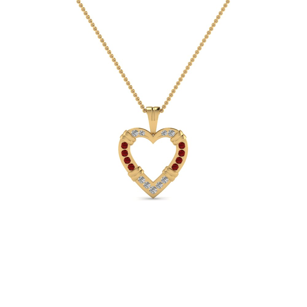 open heart fancy diamond pendant necklace with ruby in 14K yellow gold FDHPD6GRUDR NL YG