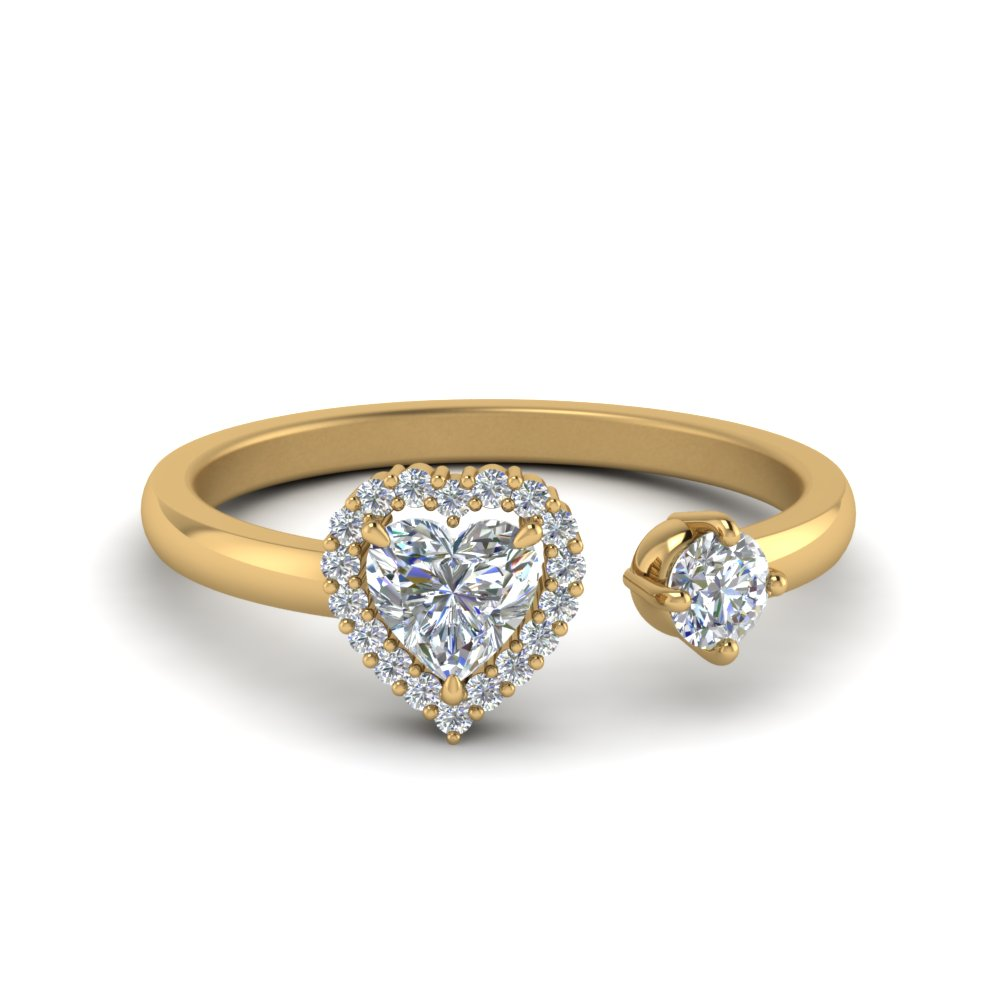 Open Heart Halo Diamond Engagement Ring In 14K Yellow Gold