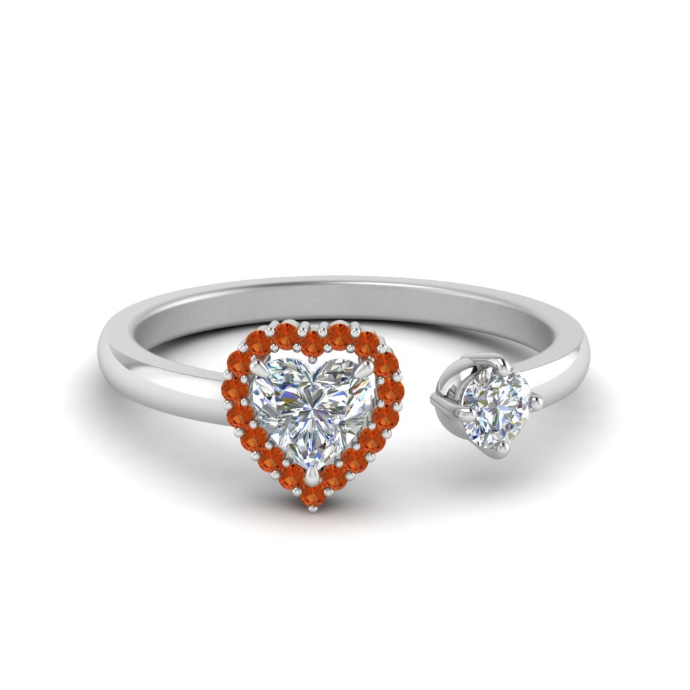Open Heart Halo Orange Sapphire Ring