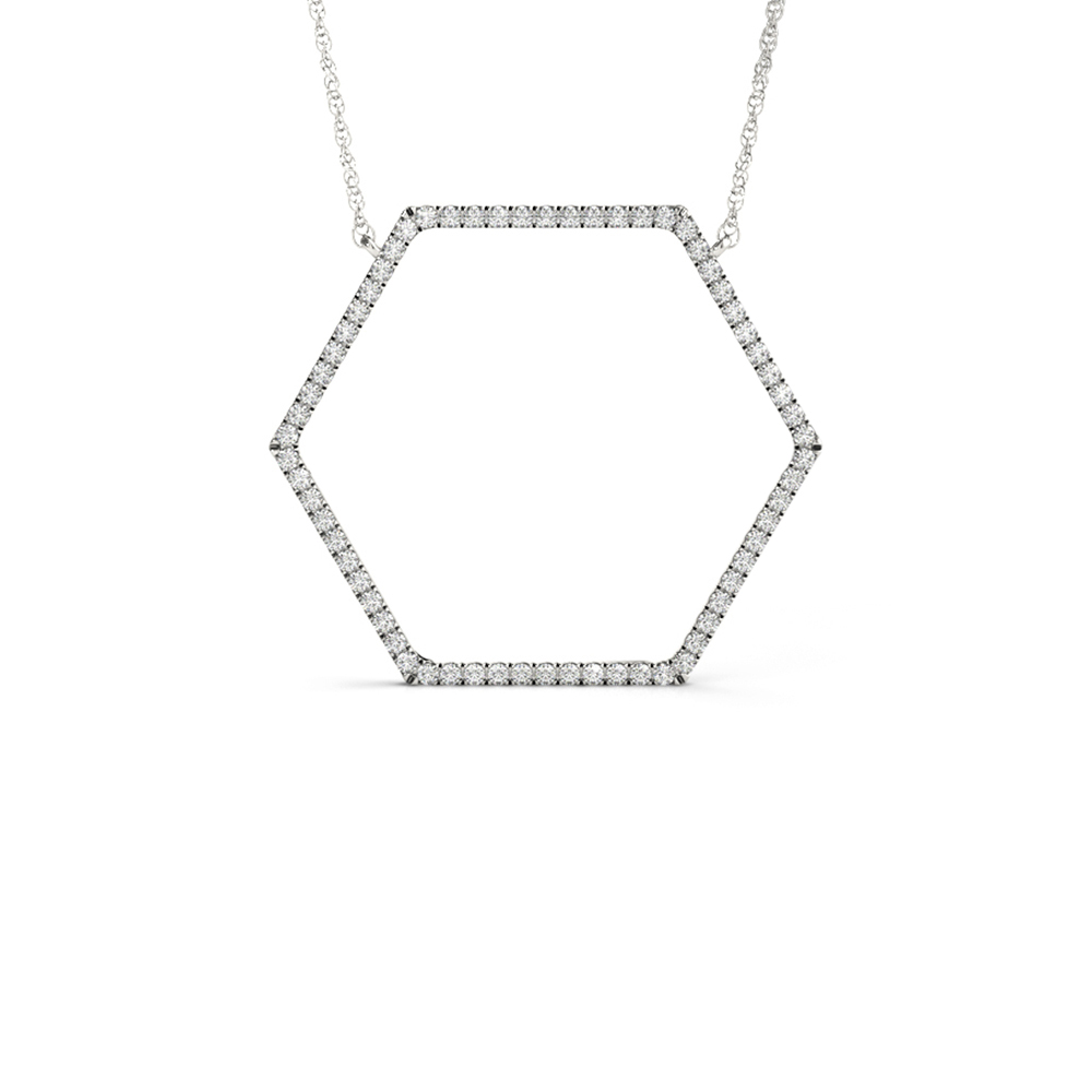 open hexagon diamond necklace in FDOPD32449ANGLE1 NL WG