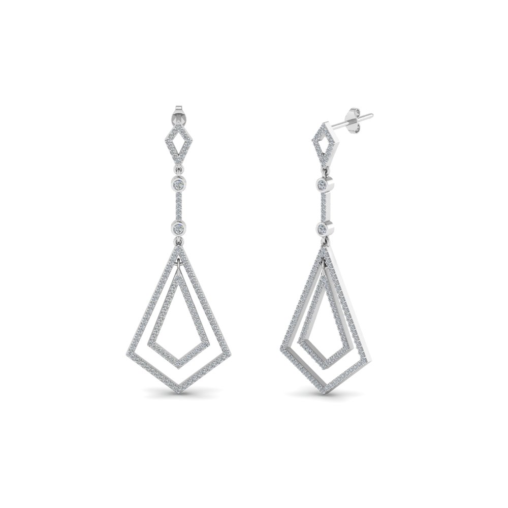 Open Kite Diamond Drop Earring