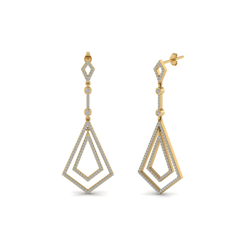 Open Kite Drop Diamond Earring