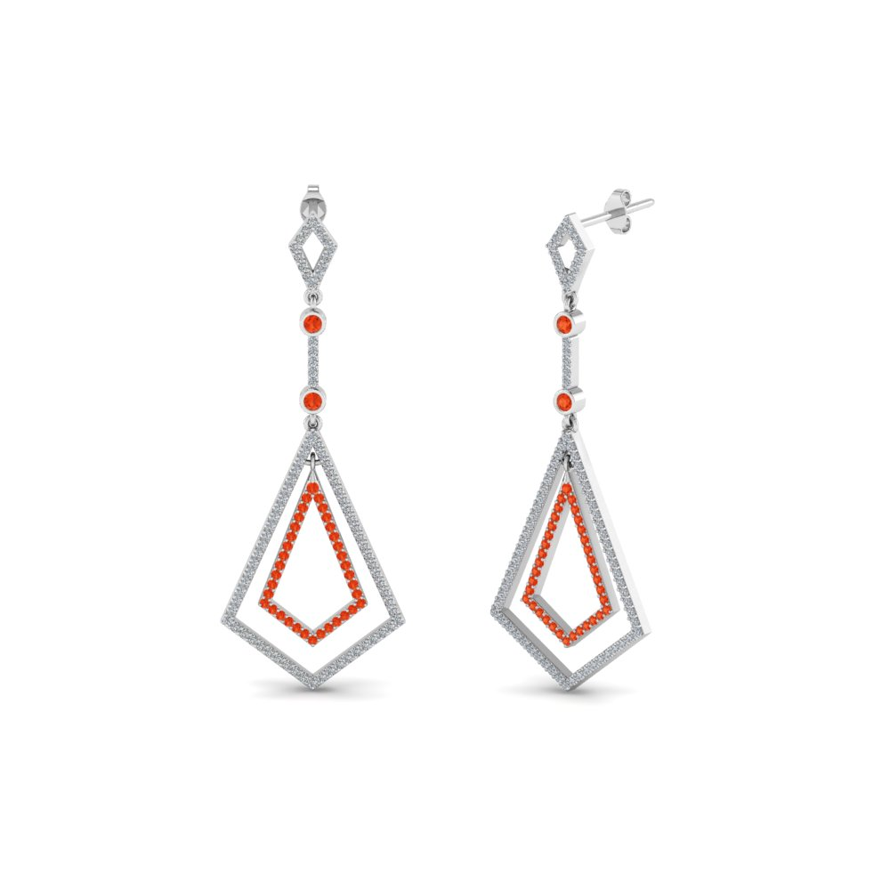 open kite drop diamond earring with orange topaz in 14K white gold FDEAR8434GPOTO NL WG