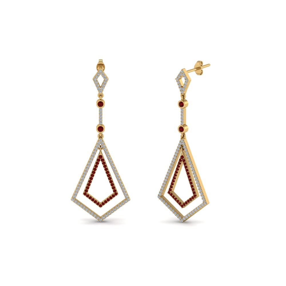 Open Kite Drop Ruby Earring