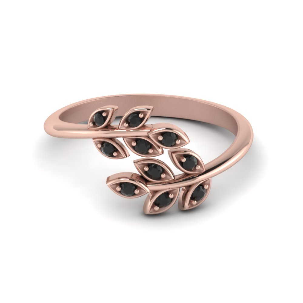 Open Leaf Band With Black Diamond In 18K Rose Gold