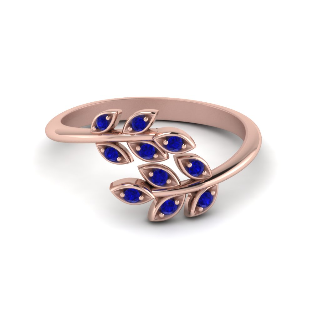 Open Leaf Diamond Band Blue Sapphire In 14K Rose Gold