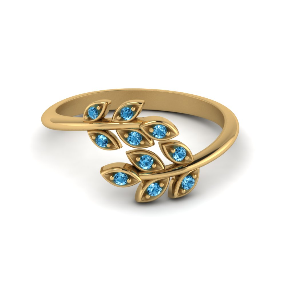 Open Leaf Diamond Band Ice Blue Topaz In 18K Yellow Gold