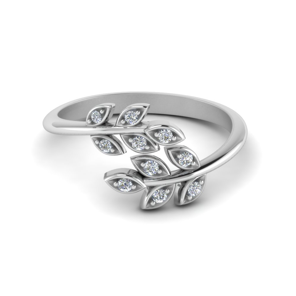 Open Leaf Diamond Band In 14K White Gold