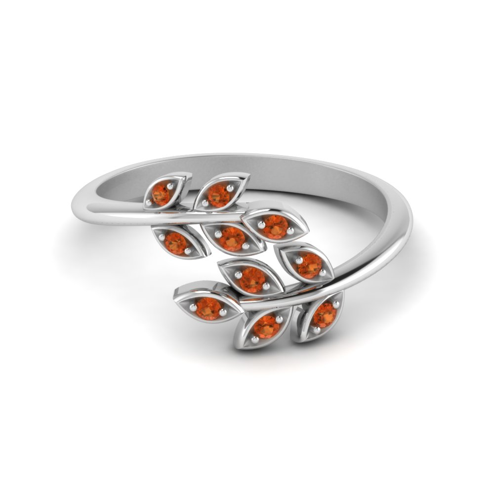 Open Leaf Orange Sapphire Band
