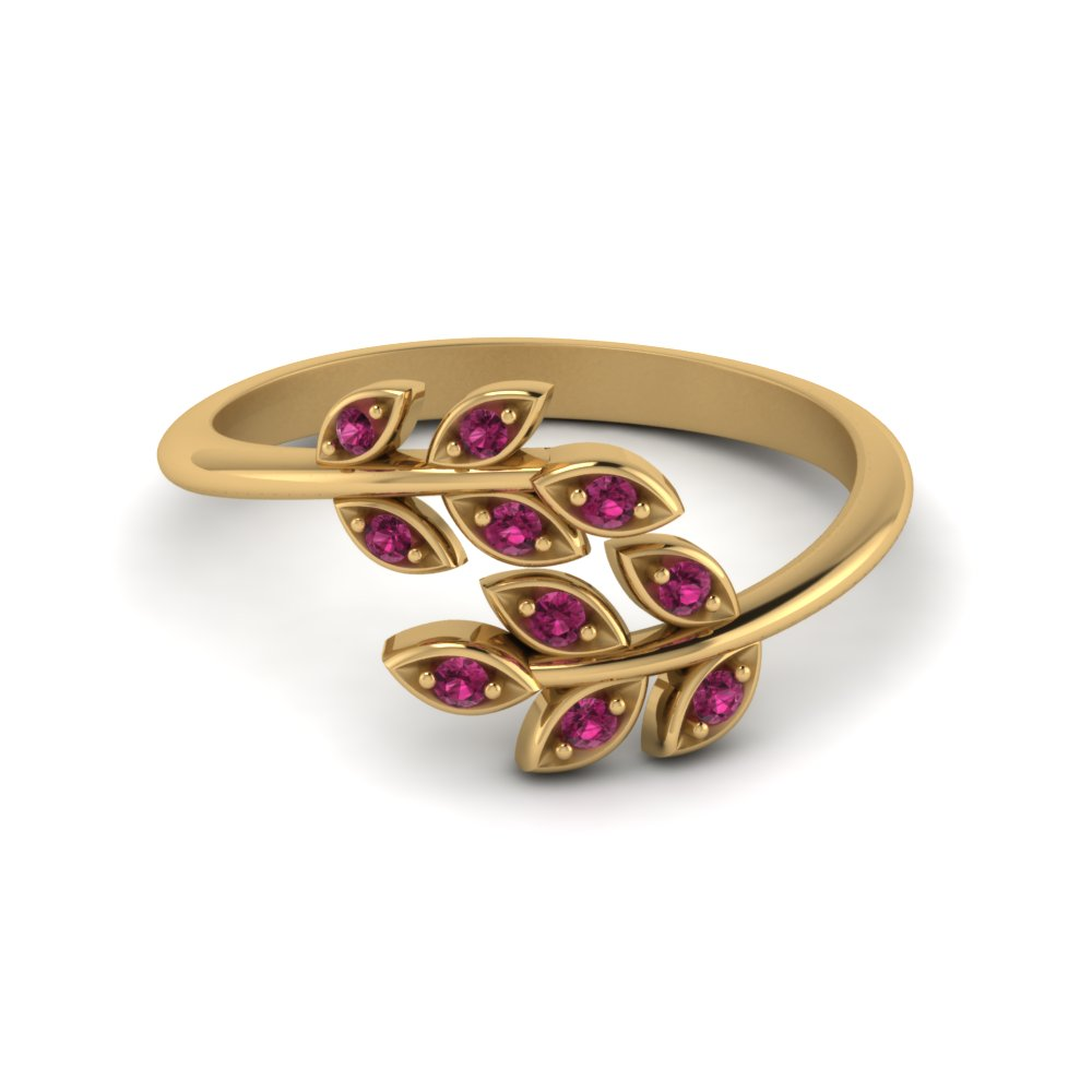 Open Leaf Diamond Band Pink Sapphire In 14K Yellow Gold