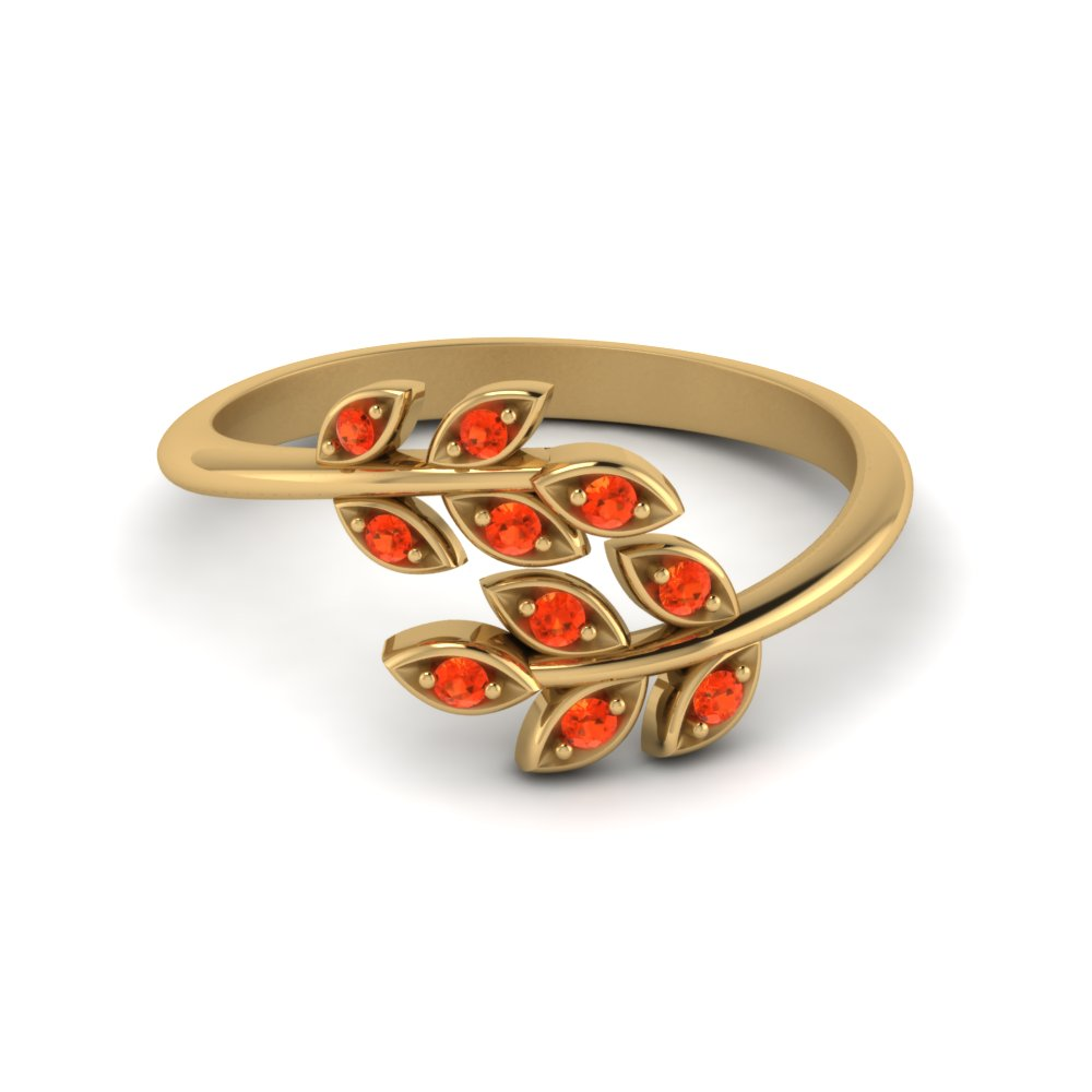 Open Leaf Diamond Band Poppy Topaz In 18K Yellow Gold