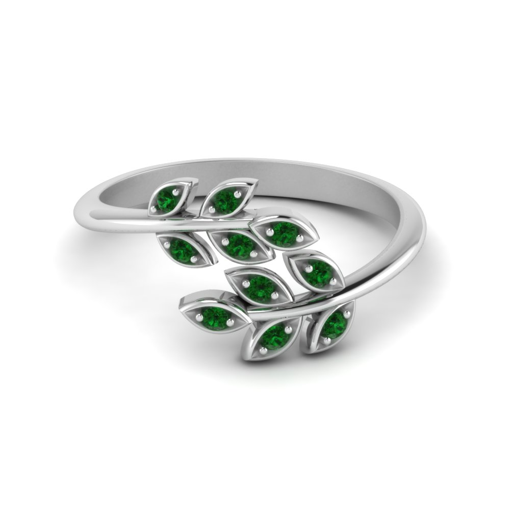 Open Leaf Diamond Band With Emerald In 14K White Gold