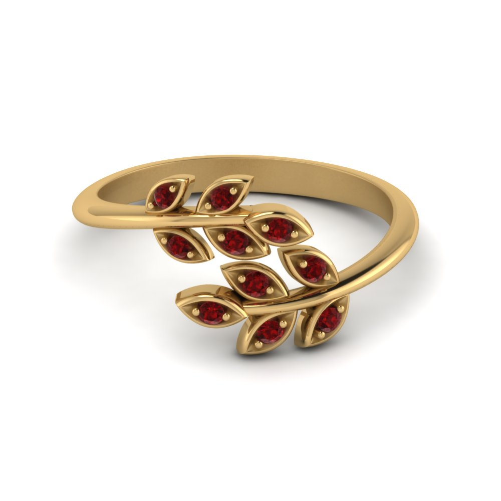 Open Leaf Diamond Band With Ruby In 14K Yellow Gold