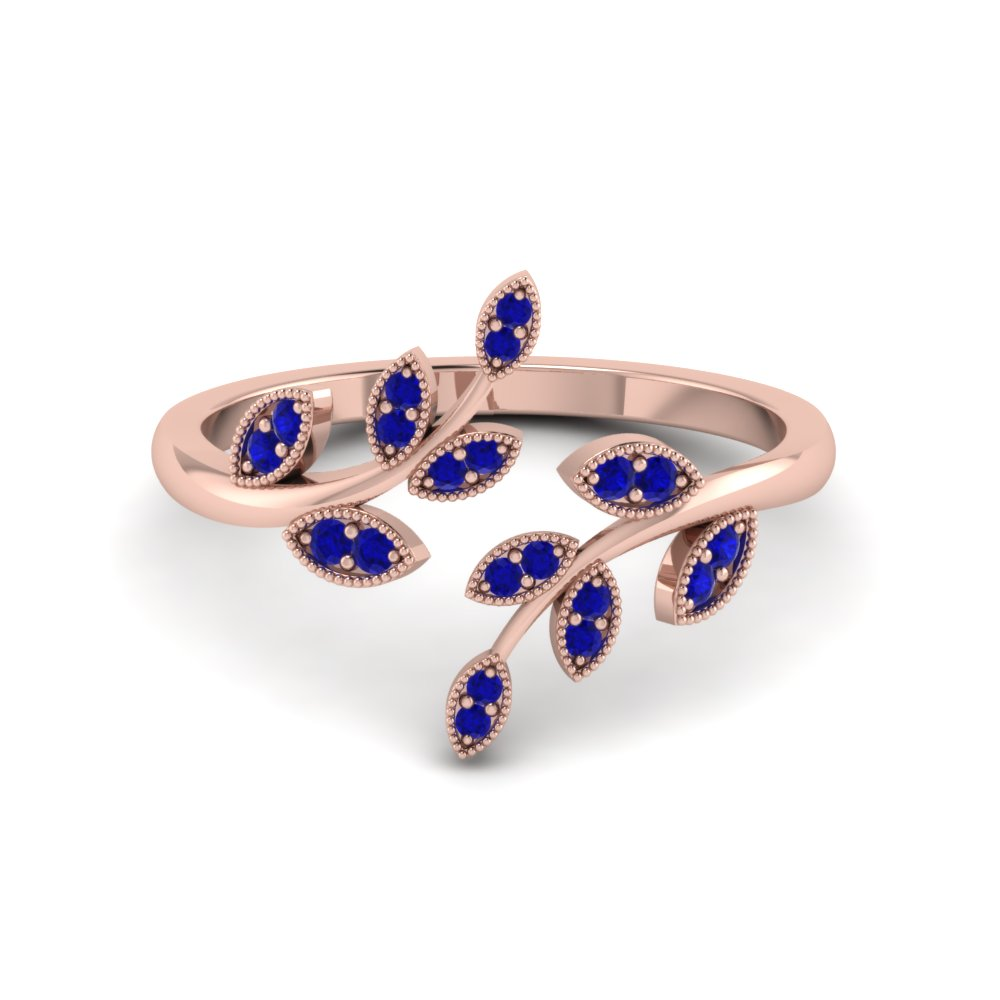 open leaf sapphire engagement ring in FD8342GSABL NL RG GS
