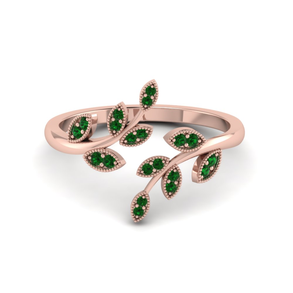 open leaf emerald engagement ring in FD8342GEMGR NL RG GS